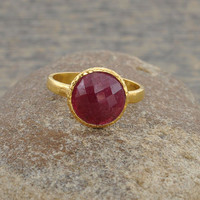 Ruby Faceted Round 10mm Gemstone Micron Gold Plated 925 Sterling Silver Hammered Ring Jewelry - #1444