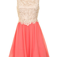 Cream And Coral Lace Dress