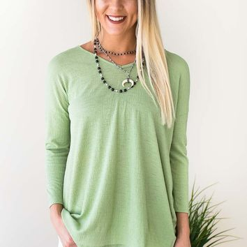 Not So Basic Twist Back Top - Green
