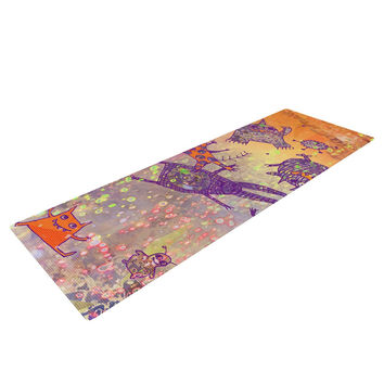 "Marianna Tankelevich ""Levitating Monsters"" Orange Purple Yoga Mat"