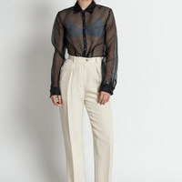 Vintage 90s Ivory and Black Striped High Waist Pleated Ralph Lauren Trousers | 2