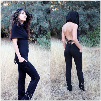Asha Hooded Bodysuit - Open Back Pocket Jumpsuit - ZhenNymph
