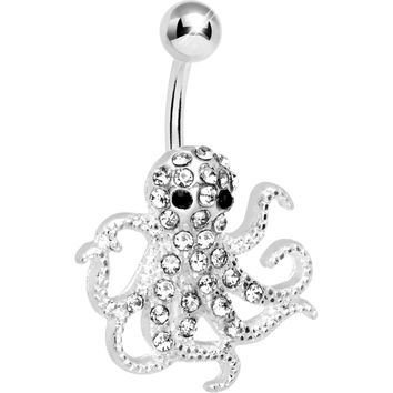 Clear Gem Encrusted Floating Octopus Belly Button Ring