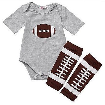 2Pcs/Set Summer Newborn Kids Baby Boys Clothes Romper Tops T-shirt + Warm Leggings Outfits Set