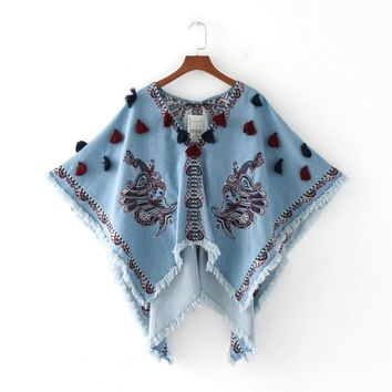 HOT! Fashion Women V Neck Batwing Sleeve Denim Sequins Blouse Casual Peacock Embroidery Tassel Shawl Cloak Style Summer Tops