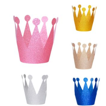 6Pcs/lot Glitter Little Prince Princess Plastic Crown Hats Birthday Party Baby Shower Kids Birthday Decorations Party