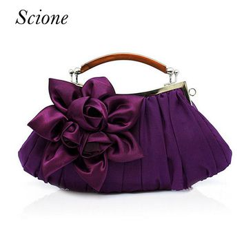 Flower Satin Evening Bag Handle Clutch Bridal Purse Shoulder Chain Wedding Party Day Clutches Wallet Banquet Messenger Bag Li478