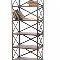 Crossed Back Wood and Metal Bookshelf