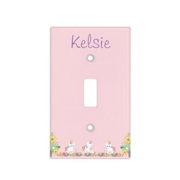 Cute Unicorns and Floral Personalized Light Switch Cover
