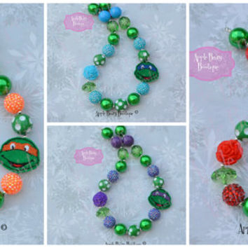 TMNT Ninja Turtle Inspired Frozen Chunky Bubblegum Necklace and Bracelet Set Superheroes necklace