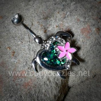 Cute Kauai Flower Turtle Belly Button Ring Navel Ring Body Jewelry 14ga Belly Piercing