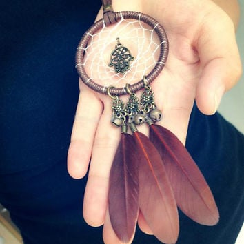 Native American Feather Dream Catcher Necklace