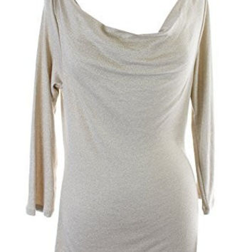 INC Womens Shimmer Draped Cowl-Neck Stretch Knit Top