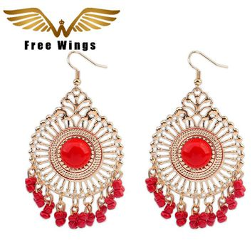 Free Wings Vintage Tassel Earrings New Ethnic Beads Dangle Statement Earrings Indian Jewelry Vintage Big Earrings For Women D4.0