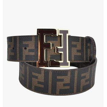 FENDI  Woman Men Fashion Smooth Buckle Belt Leather Belt
