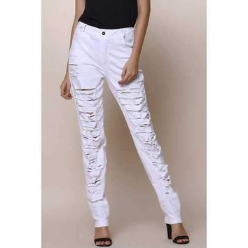 Street Style Destroy Wash Slimming Jeans For Women - White S