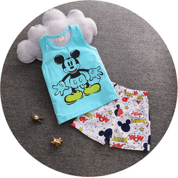 Newest Baby Boys Clothes Set Cartoon Mickey Sleevedless Vest + Pants 2PCS Outfits Kids Bebes Clothing Childrens Jogging Suits