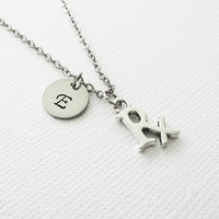 Rx Necklace, Pharmacist, Pharmacy, Medicine Jewelry, Graduate, BFF, Friend Gift, Silver Initial, Personalized, Monogram, Hand Stamped Letter