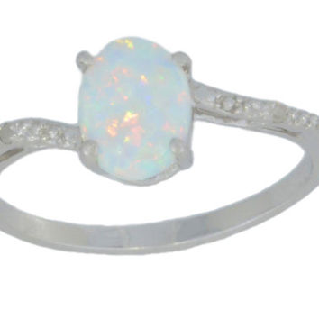 14Kt White Gold Opal & Diamond Oval Ring