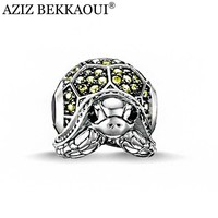 AZIZ Fine jewelry handmade tortoise animal diy crystal beads silver plated charms fit