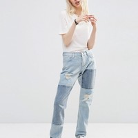 ASOS Brady Low Rise Patched Boyfriend Jeans in Light Wash Blue