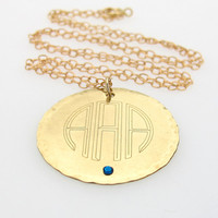 Personalized Engraved Initials Pendant / Gold Monogram Necklace / Bridesmaids Gift