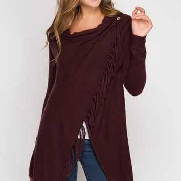 Cardigan Wrap with Fringe - Plum