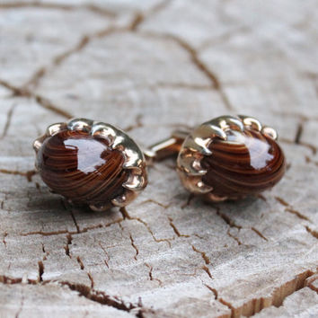 Vintage Hickok Tiger Eye Gold Cufflinks