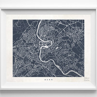 Bern, Switzerland, Print, Map, Poster, State, City, Street Map, Art, Decor, Town, Illustration, Room, Wall Art, Customize, Bedroom, Dorm