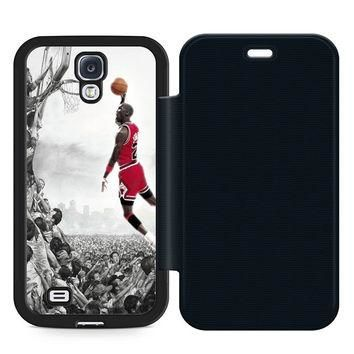 Michael Jeffrey Jordan Leather Wallet Flip Case Samsung Galaxy S4