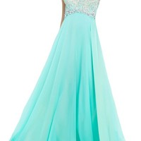 Artie 2015 A-line One Shoulder Long Chiffon Prom Dress with Beads and Crystals