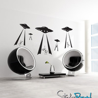 Vinyl Wall Decal Alien Invasion Cow Beaming #GFoster104