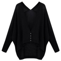 ROMWE | ROMWE Oversized Asymmetric Buttoned Black Cardigan, The Latest Street Fashion