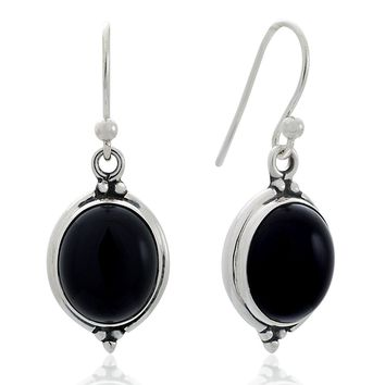 925 Oxidized Sterling Silver Natural Gemstone Oval Shaped Vintage Dangle Hook Earrings 1.3""
