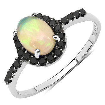 0.82 Carat Genuine Opal & Black Diamond .925 Sterling Silver Ring
