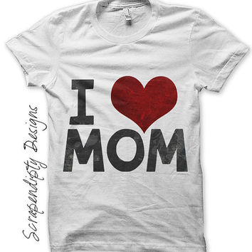 Mom Iron on Shirt PDF - Daughter Iron on Transfer / Kids Girls Clothing Tops / Mothers Day Shirt / Toddler Son Clothes / Love Mom IT184