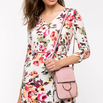Floral Knit Zip Shirtdress