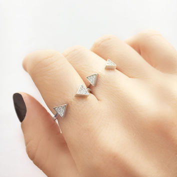 Silver Arrow Ring • Arrowhead Ring • Double Arrow Ring • Open Arrow Ring • Cz Ring Silver • Sterling Silver Rings for Women • Mom Gift