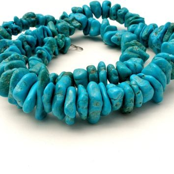 """Kingman Mine Turquoise Nugget Bead Necklace 25"""" Vintage Sterling"""