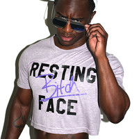 Resting Bitch Face Crop Tee- Purple