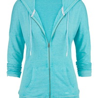 Burnwash Zip Front Hoodie With Pockets