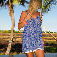 Beach Dress - Cobalt Blue Jumpsuit with Large White Pom Poms - Summer Playsuit