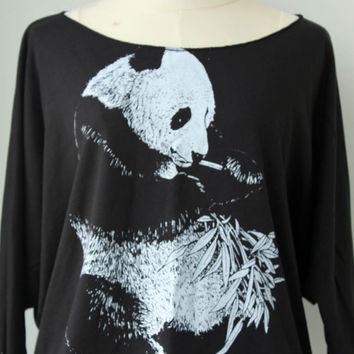 Panda Pullover Oversize style   Cat Pet Animal Print Bat Style Half Body In Black