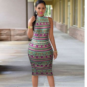 2017 Woman Summer Bodycon Dress Robe Sexy Club Party Dresses Plus Size Women Clothing Sleeveless Vintage Sundress Backless Dress