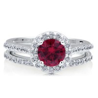 Sterling Silver 925 Round Ruby Cubic Zirconia CZ Halo 2Pcs Ring Set #r450