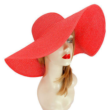 Womens Kentucky Derby Wide Brim Wedding Church Beach Sun Hat - Fuchsia