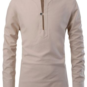 Men's Modern Fit Slit Henley Slit Neck One Button Shirt