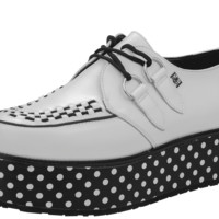 A8637 YO! T.U.K. Wraps! White leather creepers with a stylish black and white polka dot wrap around the sole.