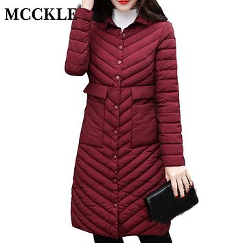 MCCKLE 2017 Women's Autumn Winter Long Light Down Jackets Full Sleeve Pockets A-Line Parkas Female's Slim Clothing Plus Size