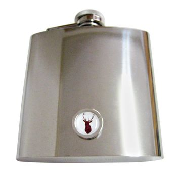 Circular Dark Red Stag Deer Head 6 Oz. Stainless Steel Flask